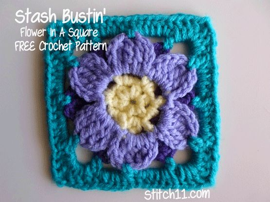 Stash Bustin' Flower In A Square - free crochet pattern from Stitch Crochet Cooking Crafts.