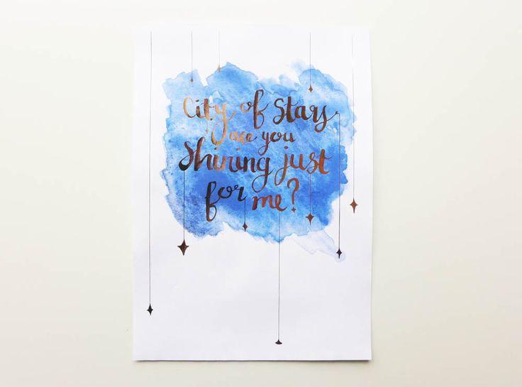 City of Stars Print / La La Land Art / Gold Foil Quote / La La Land Gift / Valentines Gift / Watercolour Print / Nursery Art / Lala Land by RachelEmmaStudio on Etsy https://www.etsy.com/listing/509054639/city-of-stars-print-la-la-land-art-gold