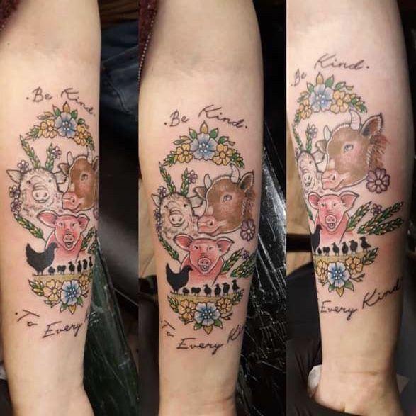 Animal Tattoo In 2020 Animal Rights Tattoo Farm Tattoo Tattoos