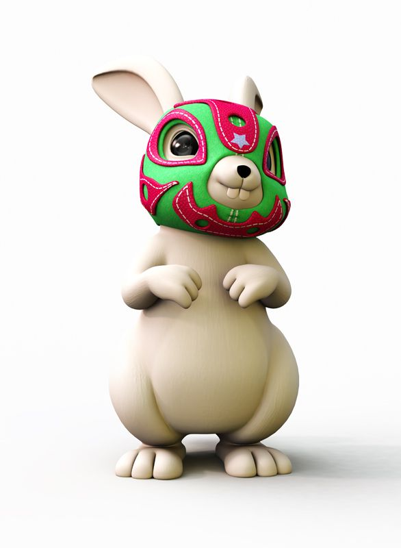 Lucha Rabbit by Teodoru Badiu, via Behance