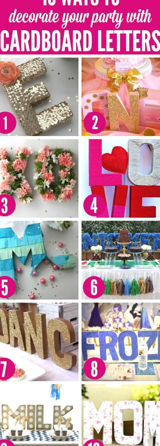 10 Ways to Decorate your Party with Cardboard Letters