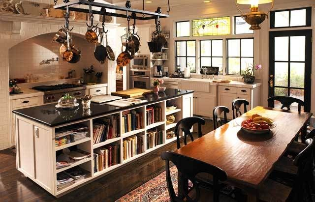 Makes me want to remove the cabinet doors on our kitchen island and use that space for our cookbooks! via Southern Living/Castle Homes