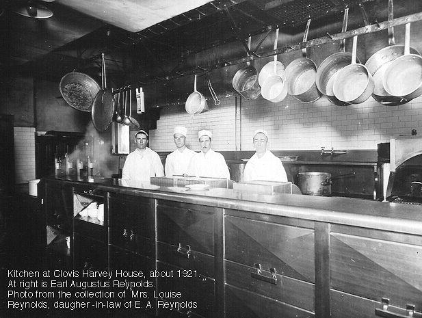 Kitchen at Clovis Harvey House about 1921.