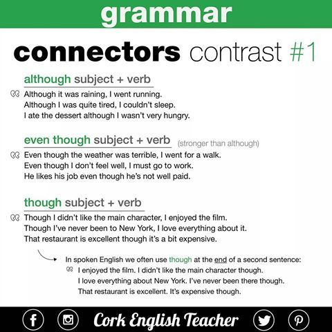 though  #connectors #esl
