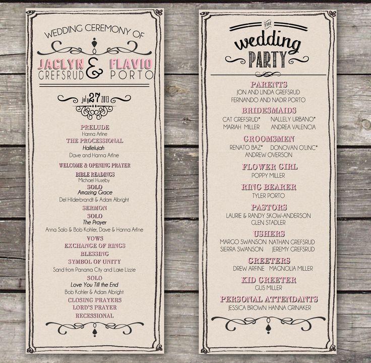 rustic wedding programs created by hka designs