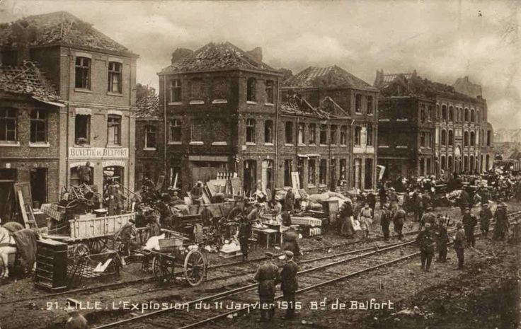 WWI, 11 Jan 1916, Lille; Bd Belfort after the explosion of a German munitions depot. It was so violent that it could be heard in Holland.