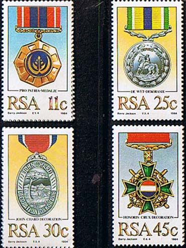 South Africa 1984 Military Decorations Medals Set Fine Mint SG 572 5 Scott 642 5 Other South African Stamps HERE