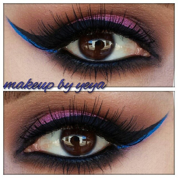 purple smokey with blue winged liner