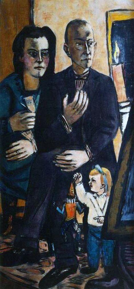 Max Beckmann, Familieportret Lütjens Olieverf op doek 1944