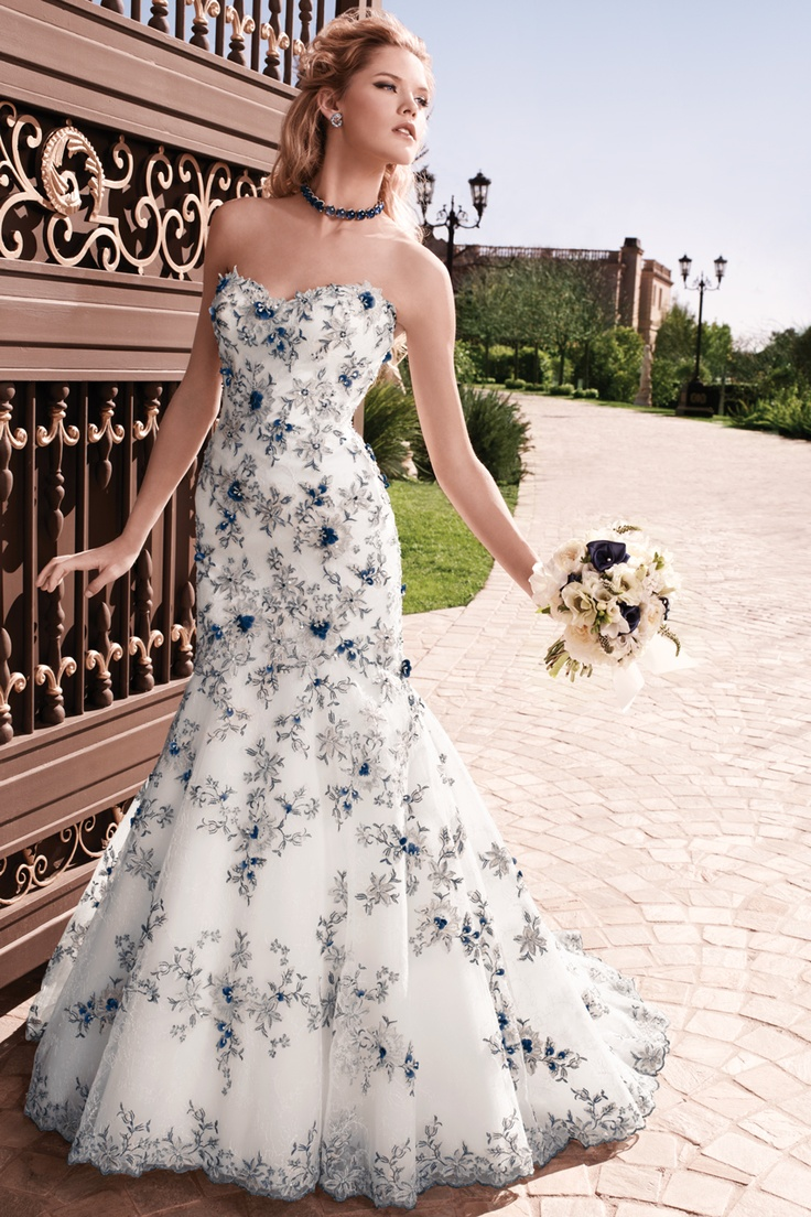 Love The Uniqueness Of This Blue And White Wedding Gown