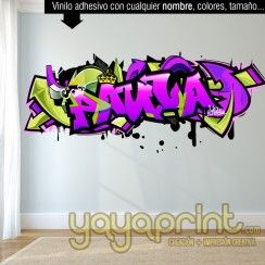 graffiti nombre PAULA vinilo chica pared decorar decoración habitación dormitorio cuarto infantil juvenil mural adolescente personalizado Madrid Barcelona Mural Yayaprint.com