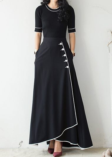 Button Embellished High Waist Piped Maxi Dress