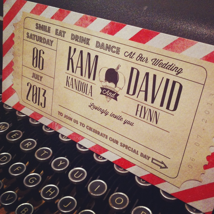 Ticket inspired wedding invitation by Bonny and Clyde