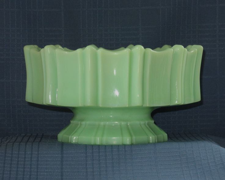 Rare Large Art Deco Jadeite Milk Glass Pedestal Bowl from knicknacnook on Ruby Lane