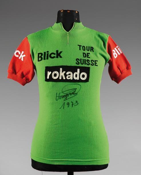 Maillot du classement par points porté par Herman Van Springel avec l'équipe Rokado sur le Tour de Suisse 1973. L'un des plus grands palmarès du cyclisme mondial. (signature du coureur). Rare. - Coutau-Bégarie - 11/02/2012