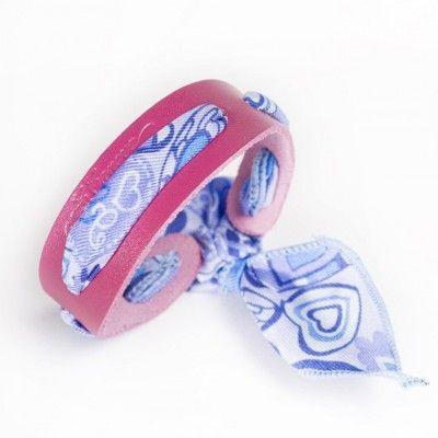 Bracelet en cuir et soie - coloris violet