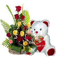 Splendid 15 multivalued Roses with lovable cute Teddy Bear  to Bangalore, Karnataka. Rs. 1000 / USD 16.67