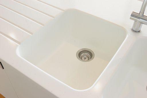 """Corian"" White Jasmine - Drainer Grooves/Integrated Sink"