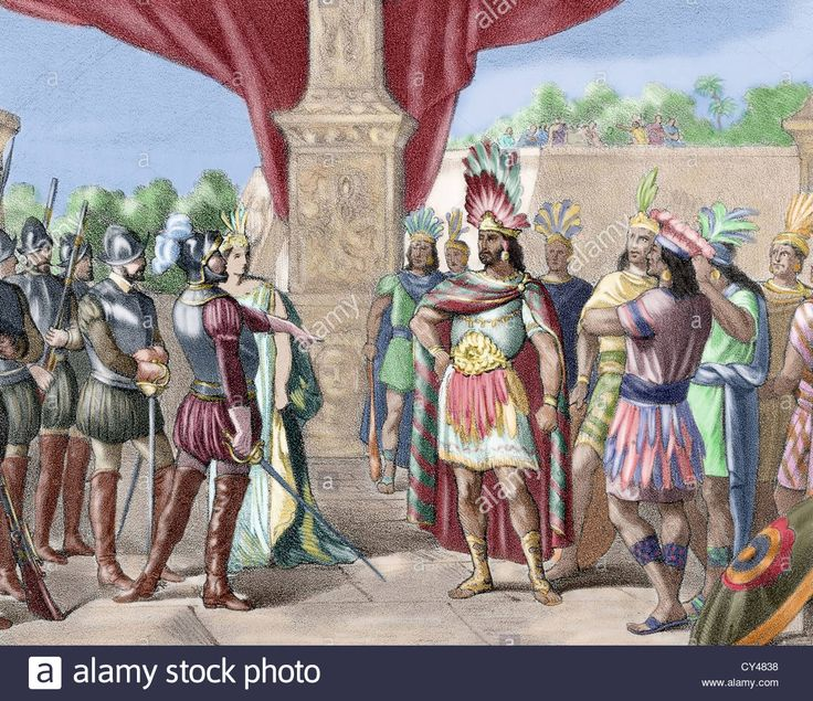 Moctezuma II (c. 1466-1520). Ninth tlatoani of Tenochtitlan. Hernan Cortes takes prisoner Moctezuma II. Colored engraving, Stock Photo