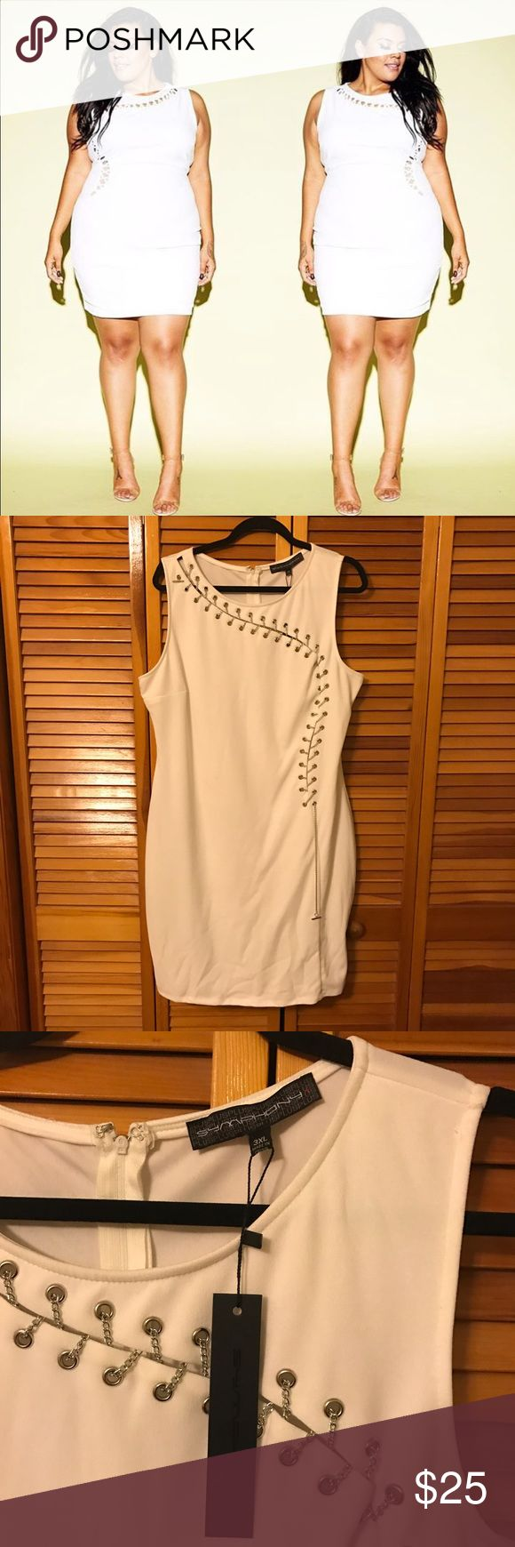 White chain bodycon dress Shop love Yourz white bodycon dress with chain Detail. Chain is silver. Never been worn. Tag attached. Size 3x shop love yourz Dresses Mini