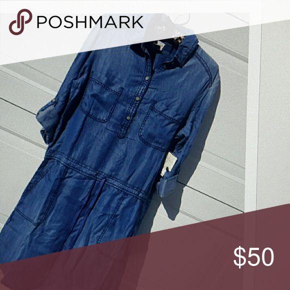 Denim dress draw string waist roll up sleeves (ta) Shirt tail hem  in person it seems a deeper blue then photo Andrea jovine Dresses Midi