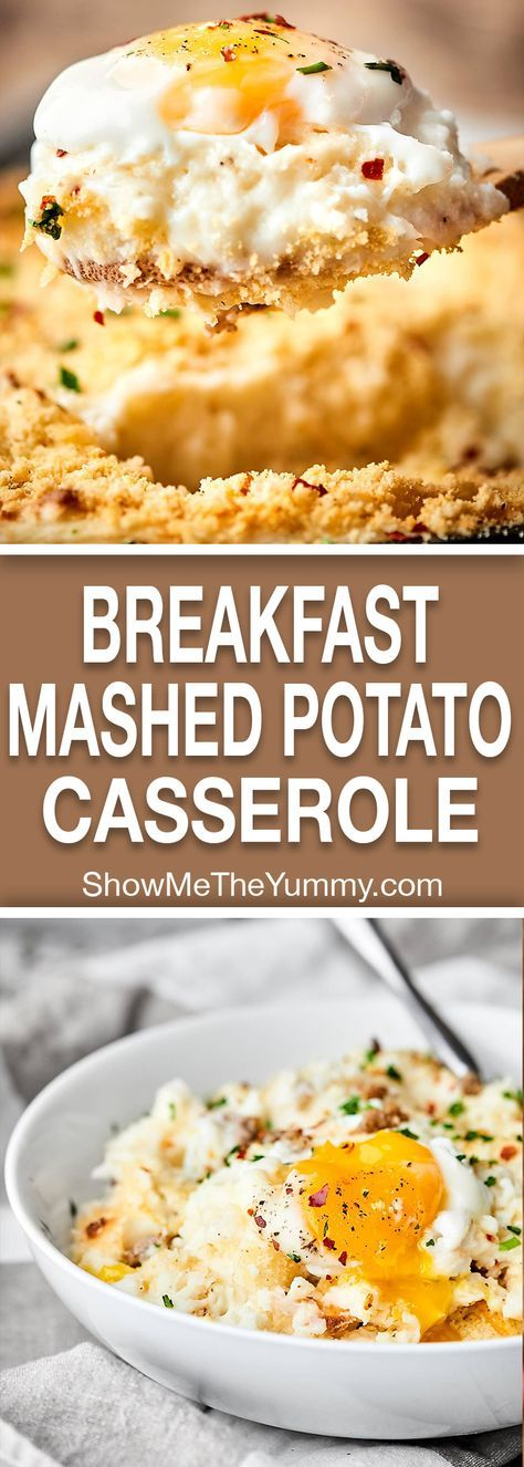 Breakfast Mashed Potato Casserole. Because mashed potatoes for brunch is now a thing. Full of Mashed Potatoes, sausage, panko, and eggs, it's easy, indulgent, and delicious! showmetheyummy.com