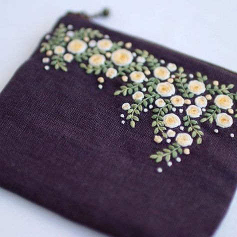 Pretty ribbon embroidery pouch