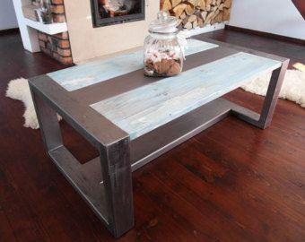 Handgemaakte rustieke teruggewonnen hout & staal industriële salontafel
