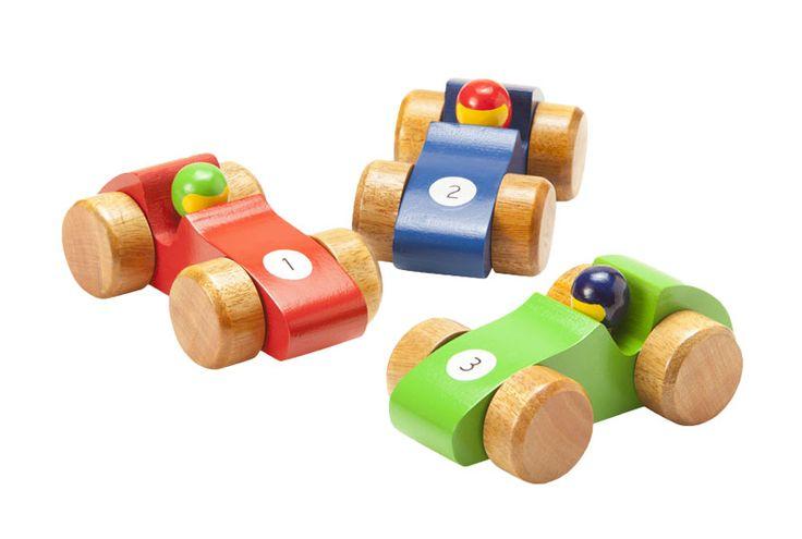 Bilar i trä (3-pack)