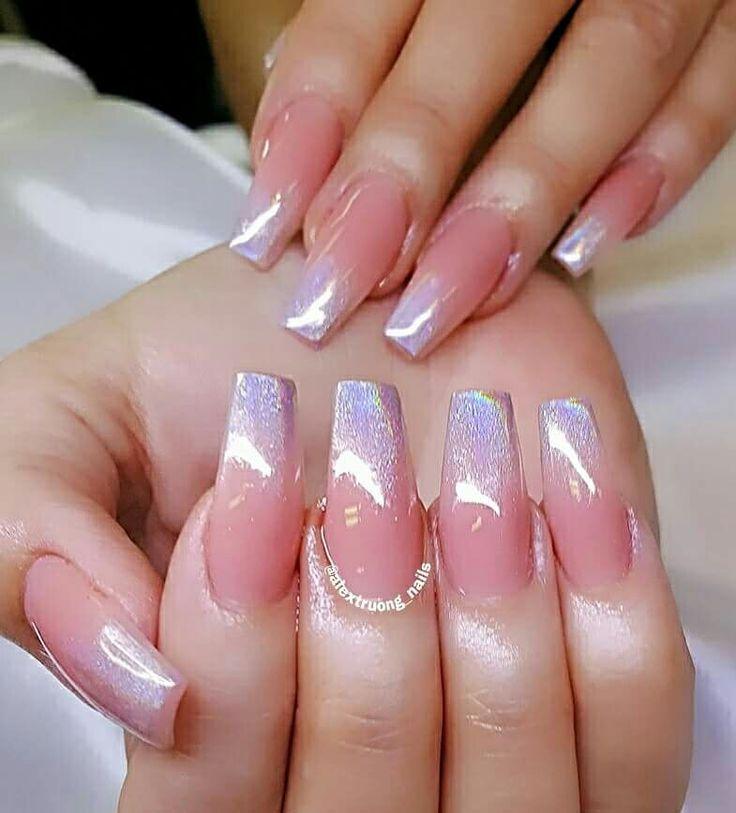 Hologram french long squared nails Wedding nails glitter