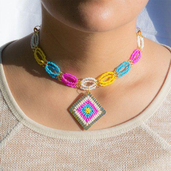 Handmade Bead Choker Crochet Necklaces Multicolor Gold Beaded #Choker #Handmade #Unique #Colorful #Summer #Crochet #Pendant #Beads