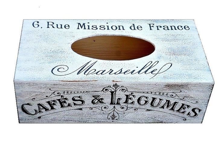 krabička na kapesníky - ve stylu venkovské Francie Krabička na kapesníky. Zdobena ubrouskovou technikou, lakována zdravotně nezávadným lakem. rozměr 130x245x90 mm dřevo , výsuvné dno