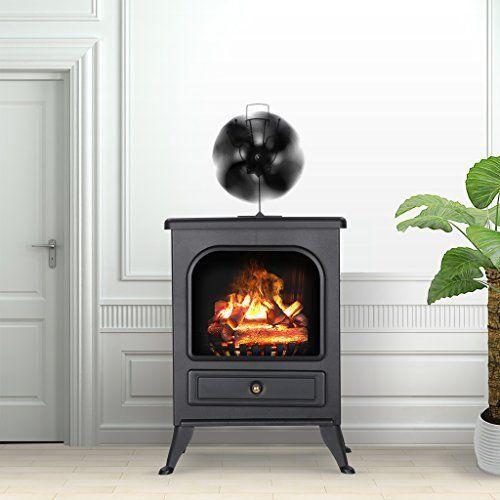Heat Powered Stove Fan Wood Stove Fan 4 Blade Aluminium Silent Economical Fan US #Finether