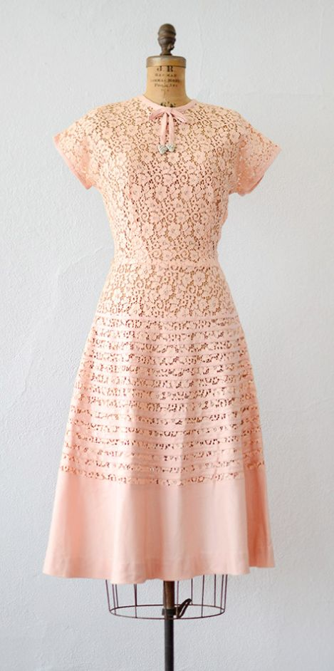 VINTAGE 1950S PEACH PINK LACE DRESS WITH RHINESTONE DETAIL // Dearly Beloved Dress by Adored Vintage #1950s #vintagedress #adoredvintage