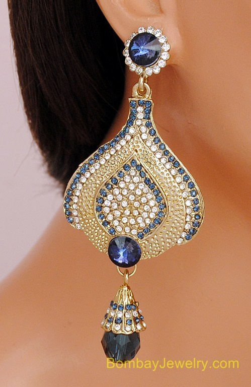 GOLDPLATED GREYISH BLUE AND WHITE DIAMOND EARRING