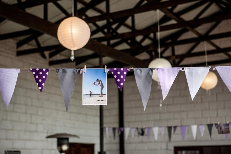 bunting with a twist - Add a few pre wedding pictures to make your bunting unique