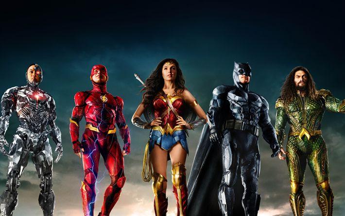 Download wallpapers Justice League, 2017, Batman, Wonder Woman, Superman, Aquaman, Barry Allen, Ben Affleck  Gal Gadot