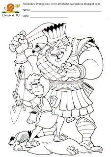 Atividades Evangélicas: Davi e Golias para imprimir, colorir.