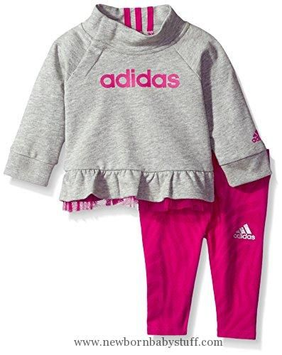 Baby Girl Clothes Adidas Baby Girls' Hoodie and Legging Set, Grey Heather, 24M