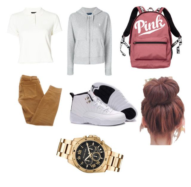 """School Uniform idea #5"" by baddieoutfitss on Polyvore featuring Puma, Polo Ralph Lauren, Victoria's Secret, Current/Elliott and Michael Kors"