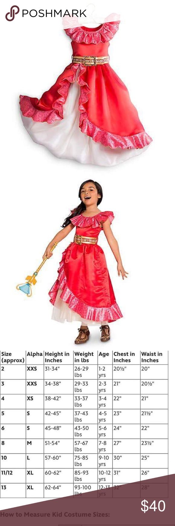 Disney Store Latina Princess Elena Costume 7/8 New With Tags Disney Store 1st Disney Latina Princess!! Princess Elena of Avalor Child Girls costume Gown. Size 7/8. See official Disney Store side chart in images. Costume includes: Flamenco 💃🏽 Inspired Dress with layers of tulle. And gold fabric belt. 100% authentic Disney Store costume. Disney Store Costumes Halloween