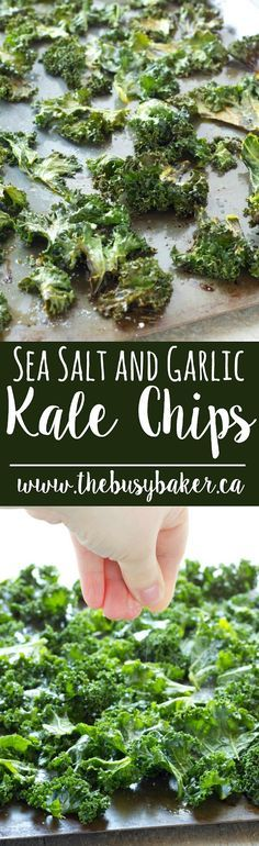 These Sea Salt and Garlic Kale Chips from thebusybaker.ca are the perfect healthy snack!
