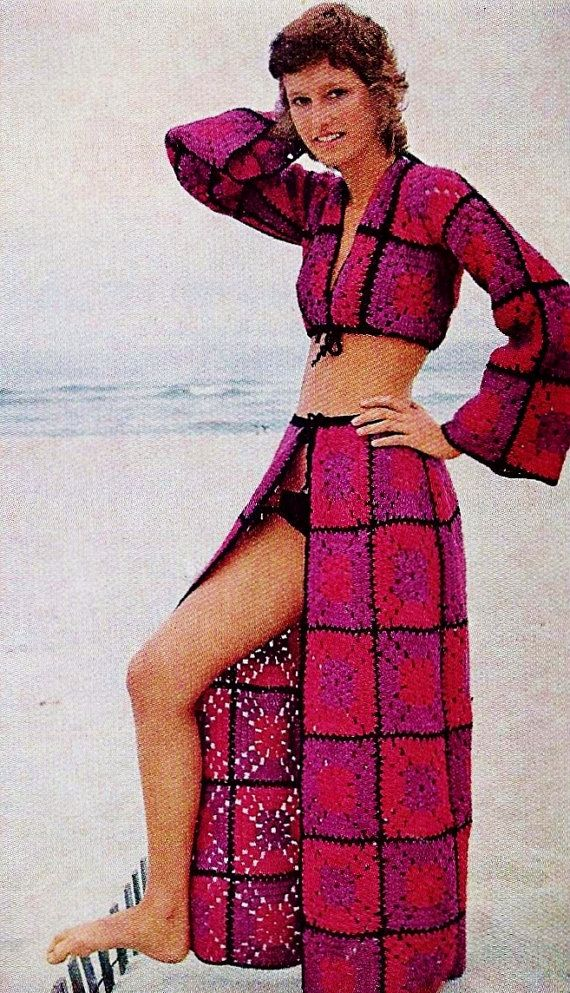 Granny Square Two Piece Swimsuit Cover-up Skirt and Midriff Top with Long Sleeves PDF Crochet Pattern