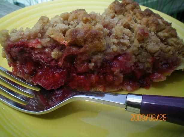 Humble Strawberry Rhubarb Crumble Pie from Food.com:   Found in Woman's Day magazine March 2008.  I am waiting for some great fresh rhubarb to hit our farmer's market and then this recipe will be made!  I like the idea that it is a pie and not just a basic crumble - so it should hold up better when serving.
