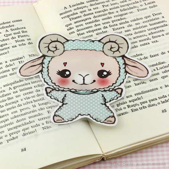 Hug Me Lamb bookmark by ribonitachocolat on Etsy