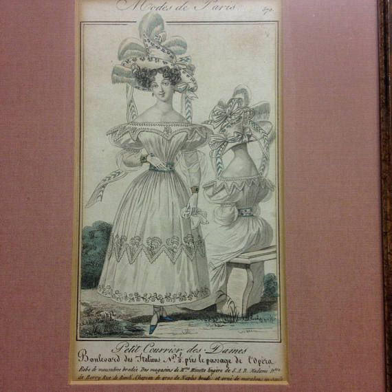 1800s French Victorian lithograph etching plate Mode de Paris