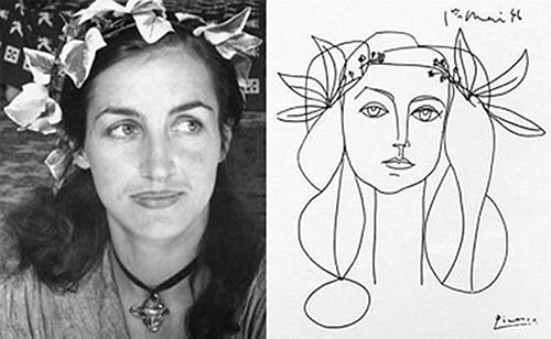 Photograph of Francoise Gilot and portrait of Gilot by Pablo Picasso