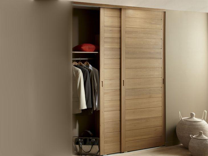 portes coulissantes placard ch ne r f pack 2 vantaux en ch ne porte de placard pinterest. Black Bedroom Furniture Sets. Home Design Ideas