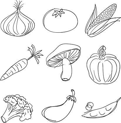 A variety of vegetable doodles. in 2020   Vegetable ...
