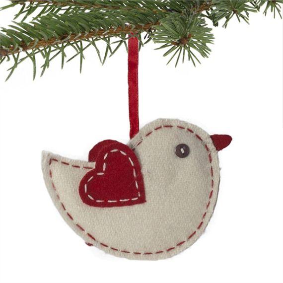 Natural Wool Felt Bird Ornament